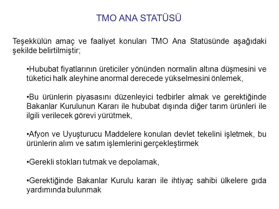 TMO ANA STATÜSÜ Teşekkülün amaç ve faaliyet konuları TMO Ana Statüsünde aşağıdaki şekilde belirtilmiştir;