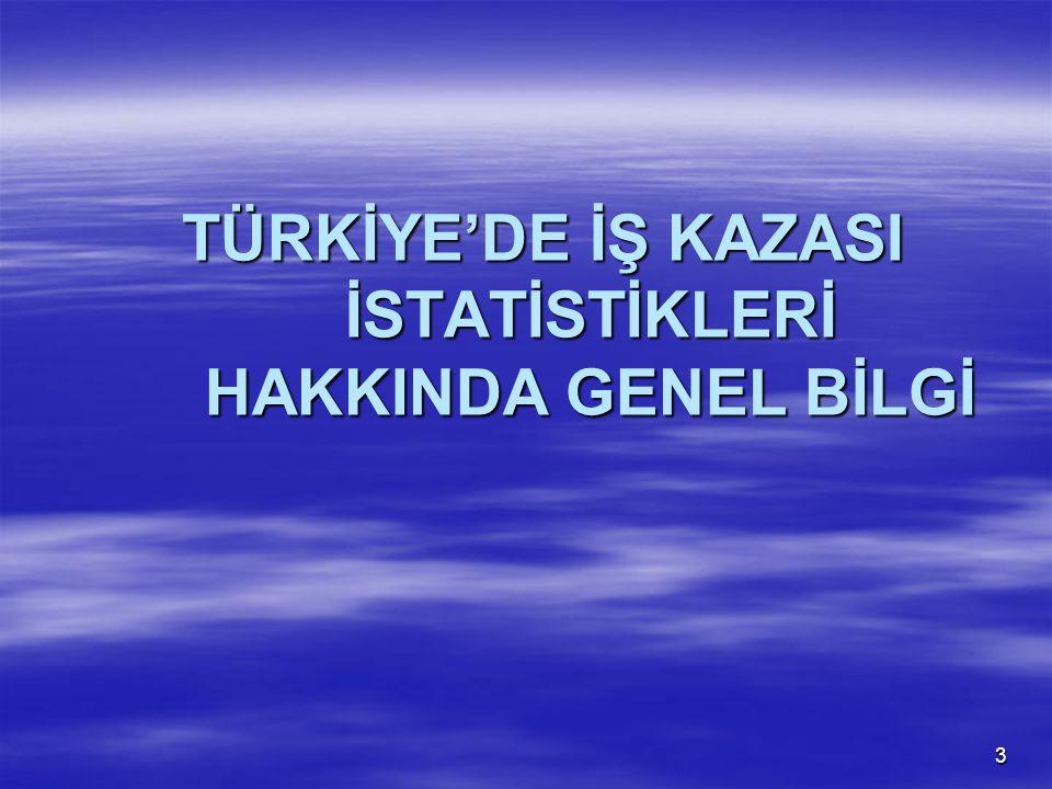 TÜRKİYE'DE İŞ KAZASI İSTATİSTİKLERİ HAKKINDA GENEL BİLGİ