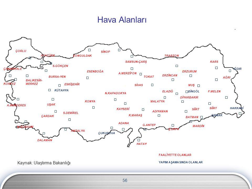Hava Alanları Kaynak: Ulaştırma Bakanlığı 56 ÇORLU SİNOP ATATÜRK