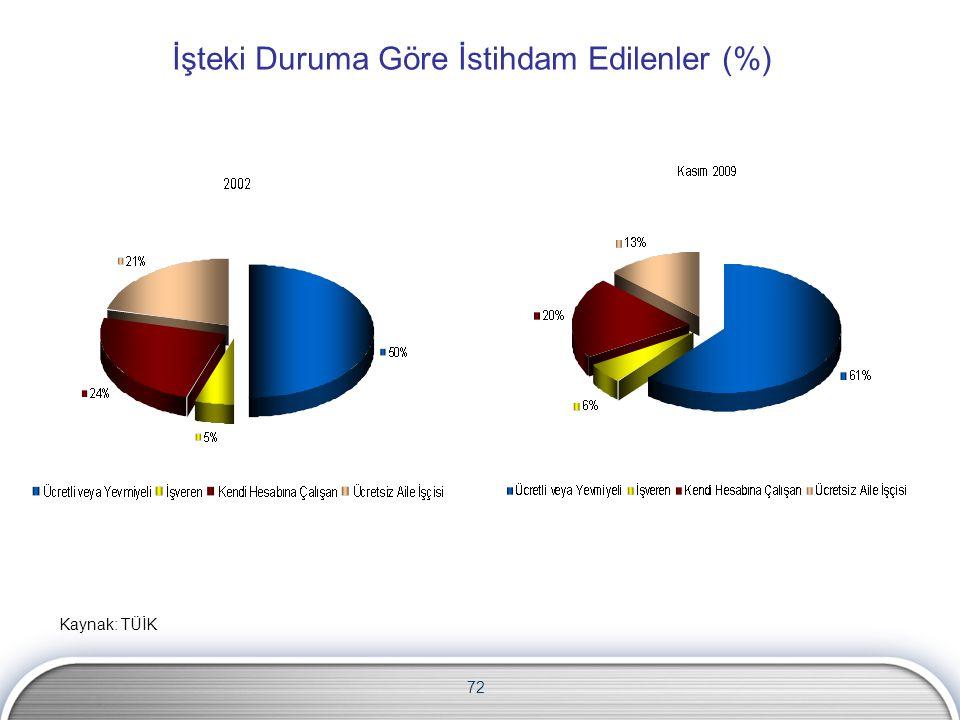 İşteki Duruma Göre İstihdam Edilenler (%)
