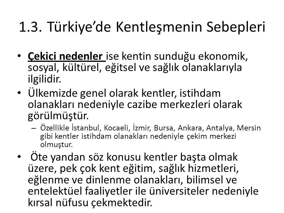 1.3. Türkiye'de Kentleşmenin Sebepleri