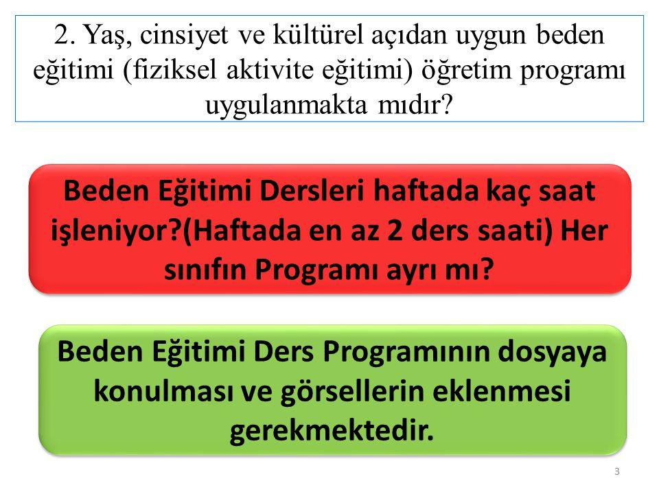 2. Yaş, cinsiyet ve kültürel açıdan uygun beden eğitimi (fiziksel aktivite eğitimi) öğretim programı uygulanmakta mıdır