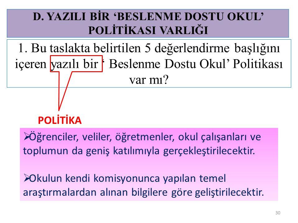 D. YAZILI BİR 'BESLENME DOSTU OKUL' POLİTİKASI VARLIĞI