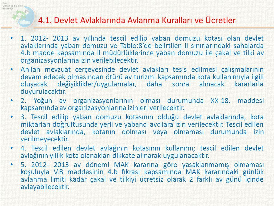 4.1. Devlet Avlaklarında Avlanma Kuralları ve Ücretler