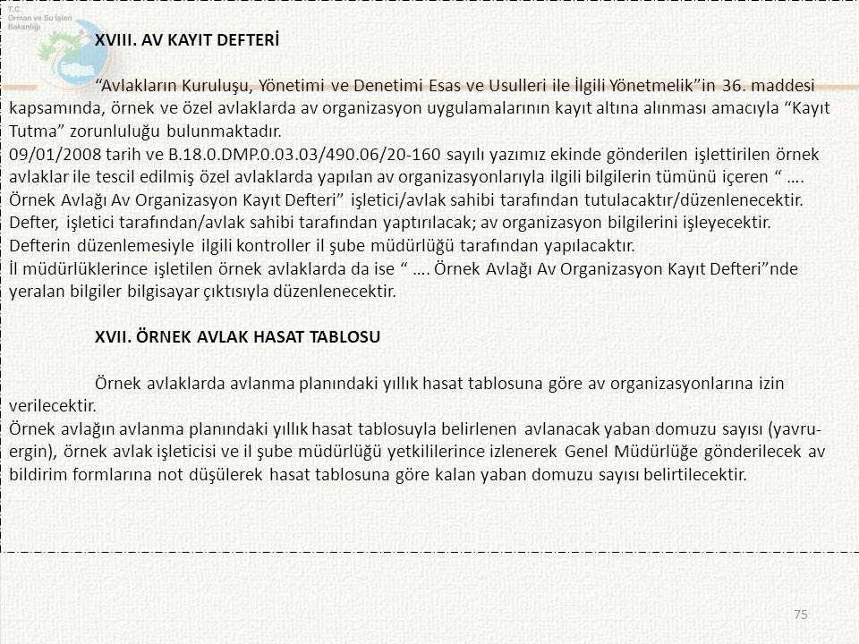 XVIII. AV KAYIT DEFTERİ