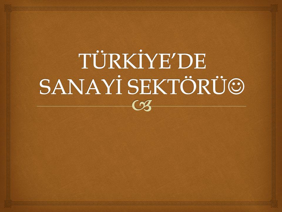 TÜRKİYE'DE SANAYİ SEKTÖRÜ