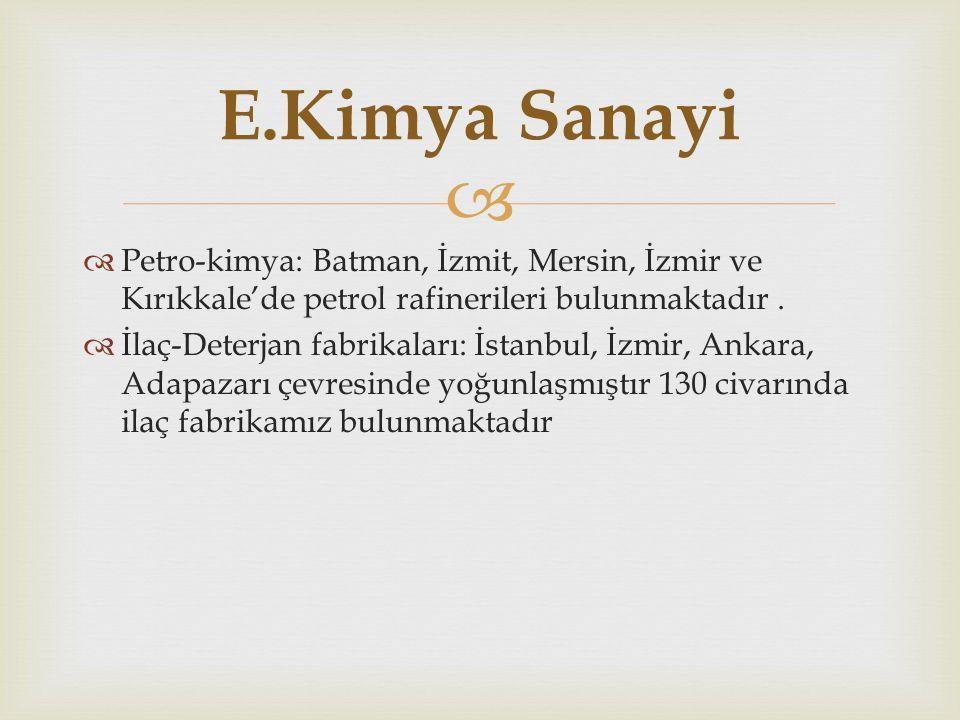 E.Kimya Sanayi Petro-kimya: Batman, İzmit, Mersin, İzmir ve Kırıkkale'de petrol rafinerileri bulunmaktadır .