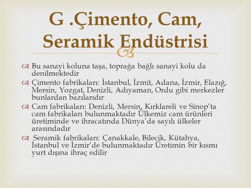 G .Çimento, Cam, Seramik Endüstrisi