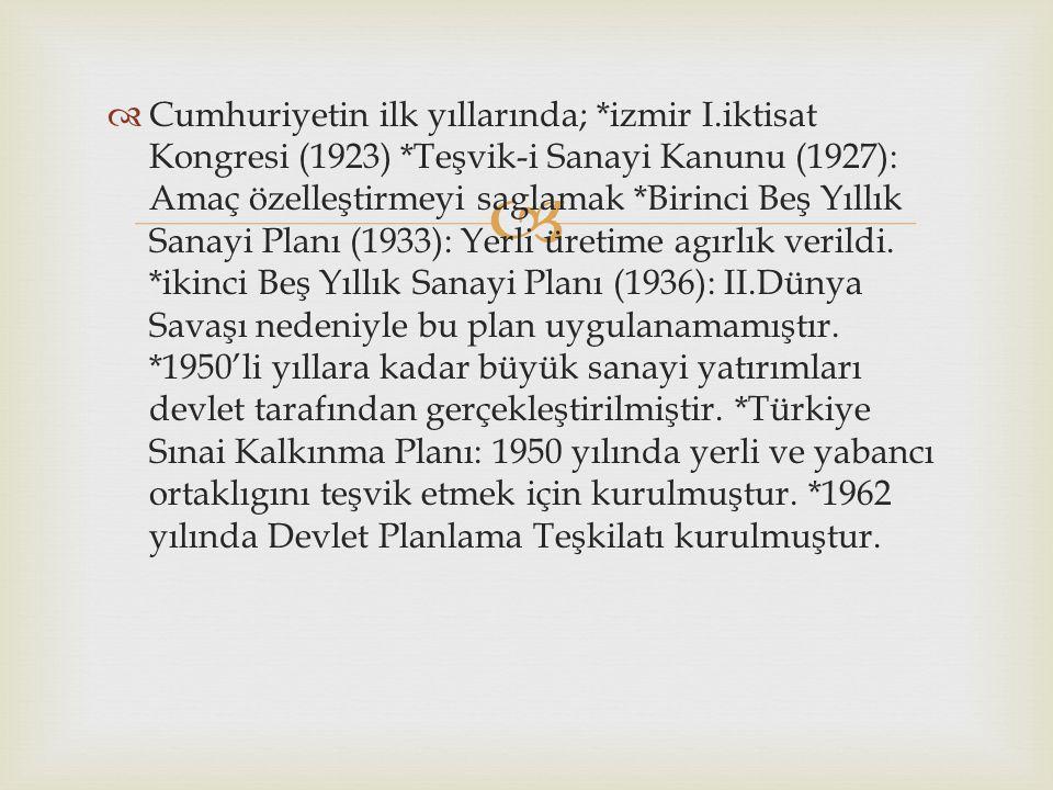 Cumhuriyetin ilk yıllarında;. izmir I. iktisat Kongresi (1923)