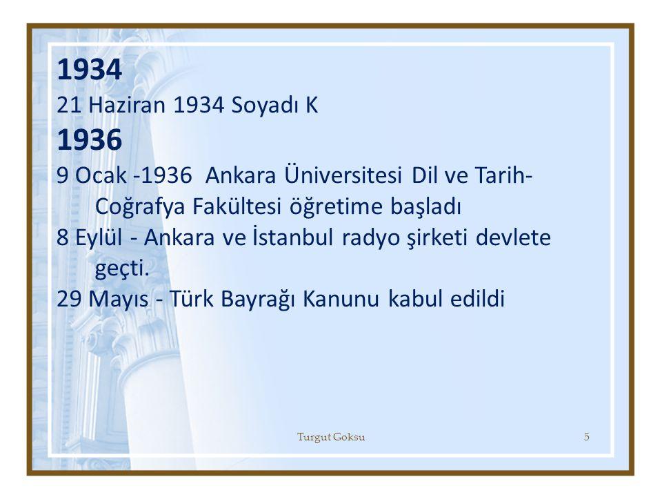 1934 21 Haziran 1934 Soyadı K. 1936. 9 Ocak -1936 Ankara Üniversitesi Dil ve Tarih-Coğrafya Fakültesi öğretime başladı.