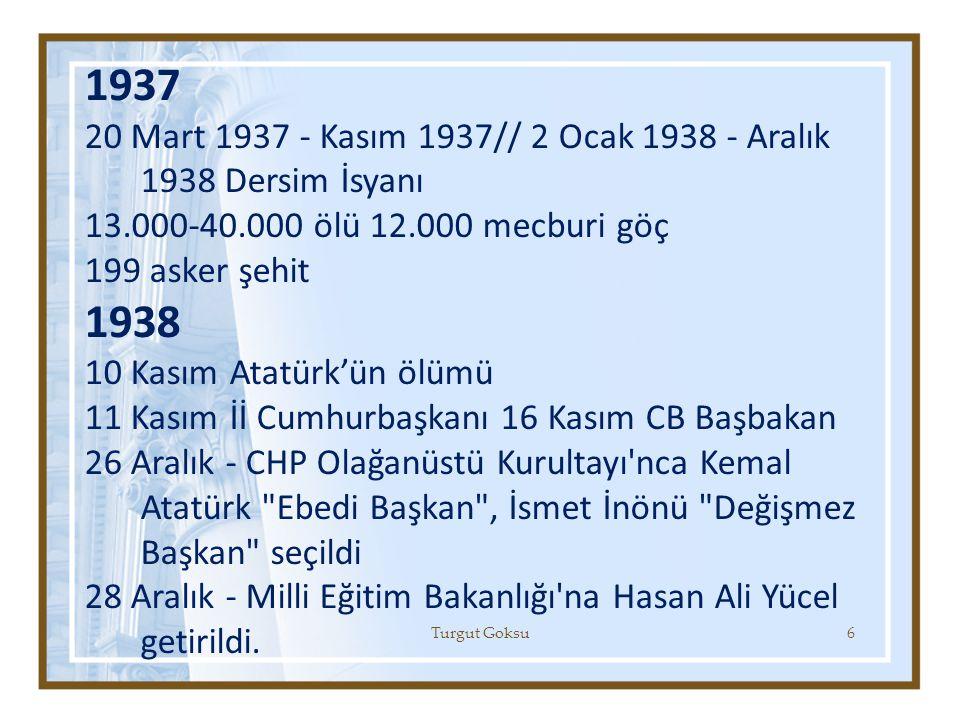 1937 20 Mart 1937 - Kasım 1937// 2 Ocak 1938 - Aralık 1938 Dersim İsyanı. 13.000-40.000 ölü 12.000 mecburi göç.