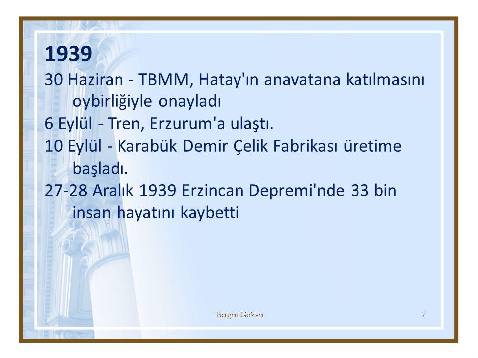 1939 30 Haziran - TBMM, Hatay ın anavatana katılmasını oybirliğiyle onayladı. 6 Eylül - Tren, Erzurum a ulaştı.