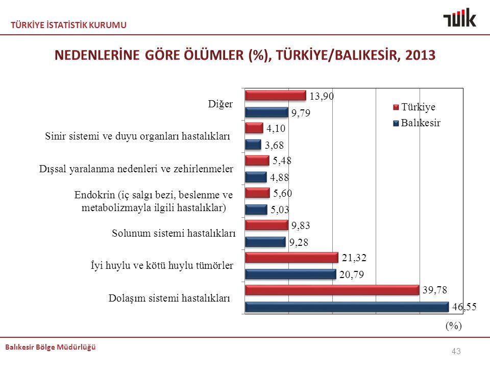 NEDENLERİNE GÖRE ÖLÜMLER (%), TÜRKİYE/BALIKESİR, 2013