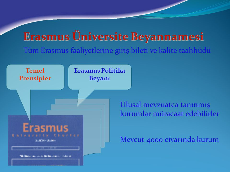 Erasmus Üniversite Beyannamesi Erasmus Politika Beyanı
