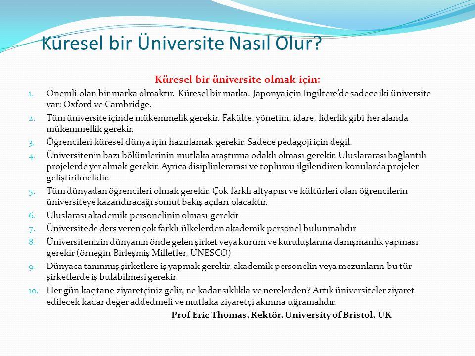 Küresel bir Üniversite Nasıl Olur