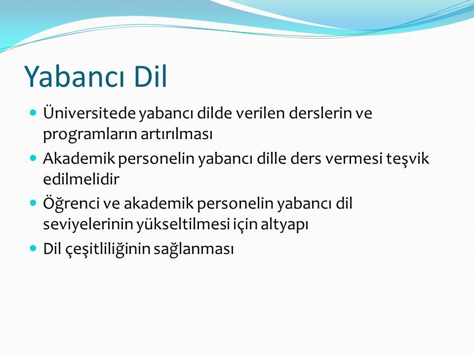 Yabancı Dil Üniversitede yabancı dilde verilen derslerin ve programların artırılması.