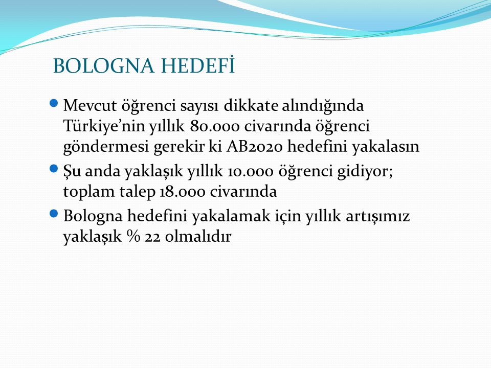 BOLOGNA HEDEFİ Mevcut öğrenci sayısı dikkate alındığında Türkiye'nin yıllık 80.000 civarında öğrenci göndermesi gerekir ki AB2020 hedefini yakalasın.