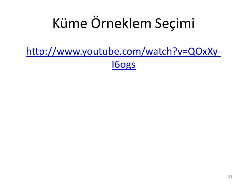 Küme Örneklem Seçimi http://www.youtube.com/watch v=QOxXy-I6ogs