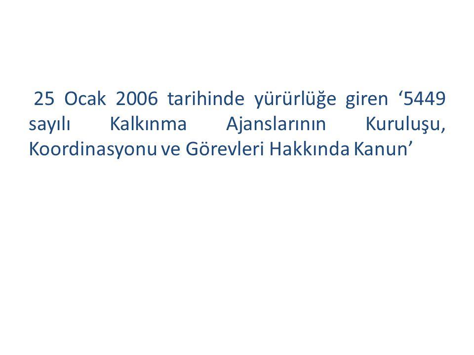 25 Ocak 2006 tarihinde yürürlüğe giren '5449 sayılı Kalkınma Ajanslarının Kuruluşu, Koordinasyonu ve Görevleri Hakkında Kanun'