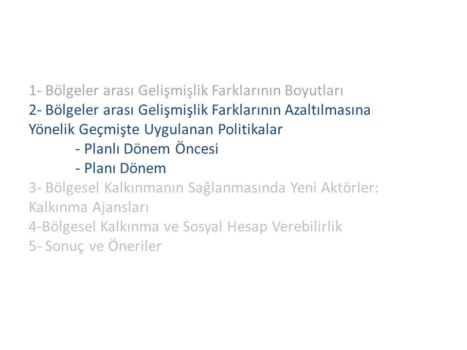 1- Bölgeler arası Gelişmişlik Farklarının Boyutları 2- Bölgeler arası Gelişmişlik Farklarının Azaltılmasına Yönelik Geçmişte Uygulanan Politikalar - Planlı Dönem Öncesi - Planı Dönem 3- Bölgesel Kalkınmanın Sağlanmasında Yeni Aktörler: Kalkınma Ajansları 4-Bölgesel Kalkınma ve Sosyal Hesap Verebilirlik 5- Sonuç ve Öneriler