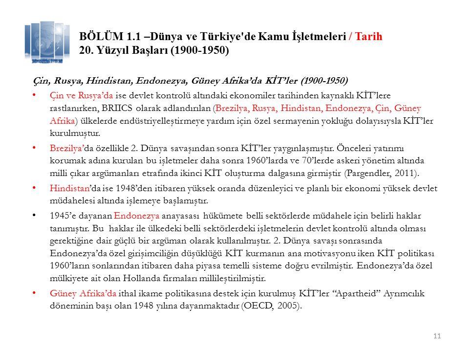 BÖLÜM 1.1 –Dünya ve Türkiye de Kamu İşletmeleri / Tarih