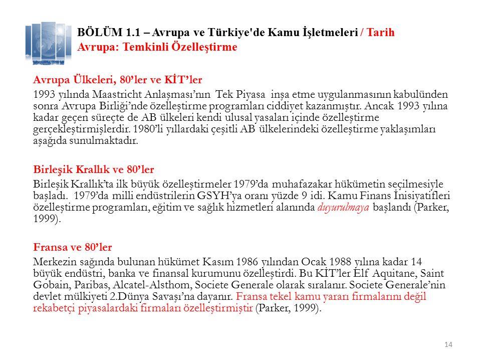 BÖLÜM 1.1 – Avrupa ve Türkiye de Kamu İşletmeleri / Tarih