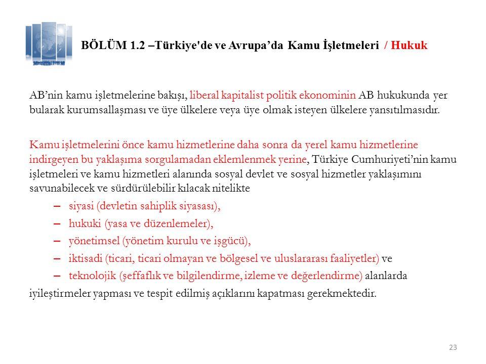 BÖLÜM 1.2 –Türkiye de ve Avrupa'da Kamu İşletmeleri / Hukuk
