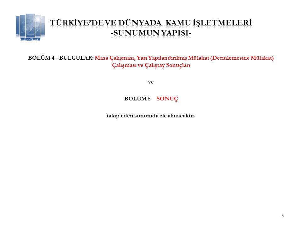 TÜRKİYE'DE VE DÜNYADA KAMU İŞLETMELERİ -SUNUMUN YAPISI-