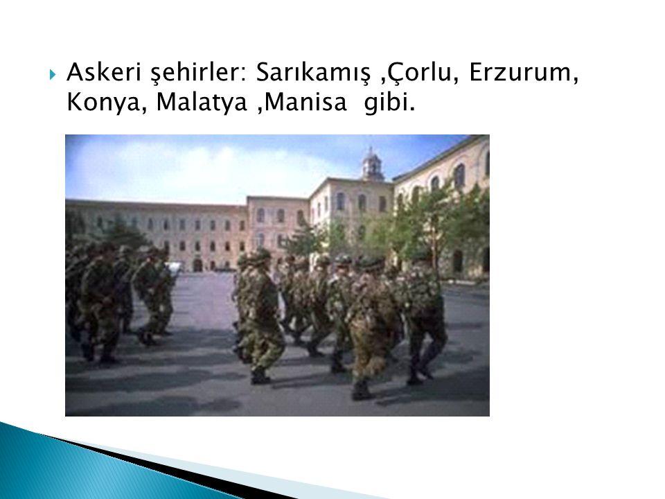 Askeri şehirler: Sarıkamış ,Çorlu, Erzurum, Konya, Malatya ,Manisa gibi.