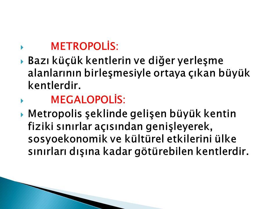 METROPOLİS: Bazı küçük kentlerin ve diğer yerleşme alanlarının birleşmesiyle ortaya çıkan büyük kentlerdir.