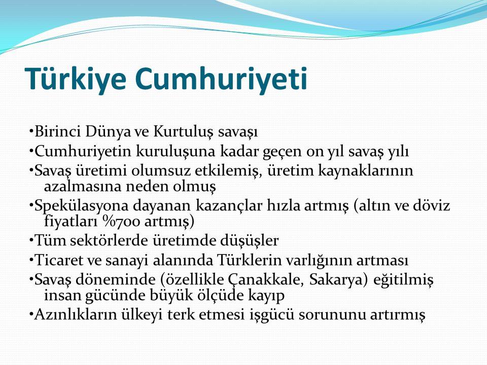 Türkiye Cumhuriyeti •Birinci Dünya ve Kurtuluş savaşı