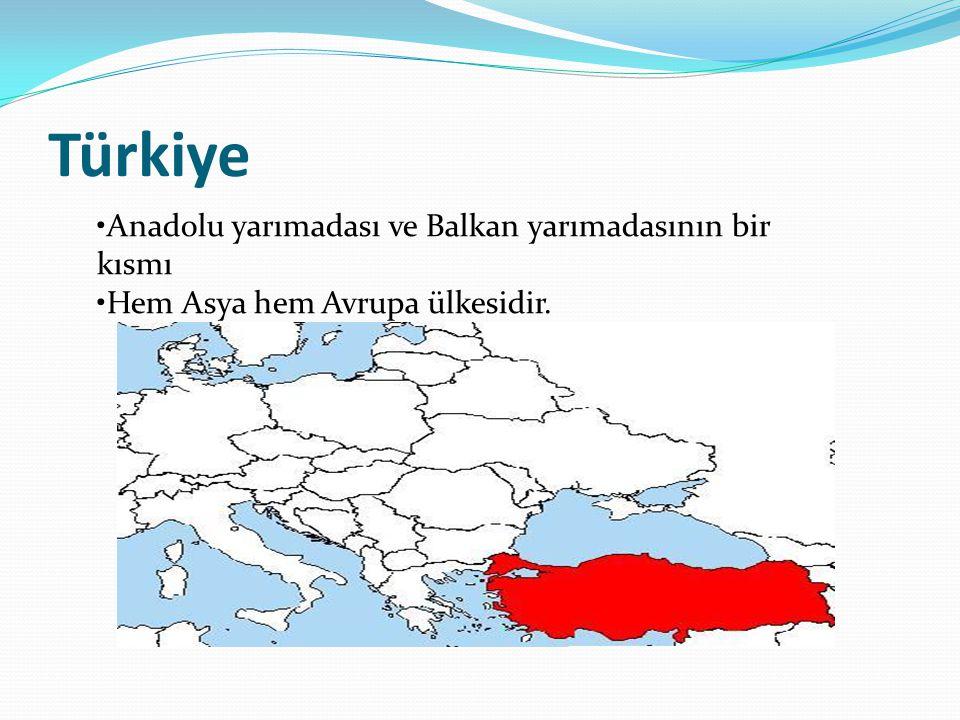 Türkiye •Anadolu yarımadası ve Balkan yarımadasının bir kısmı