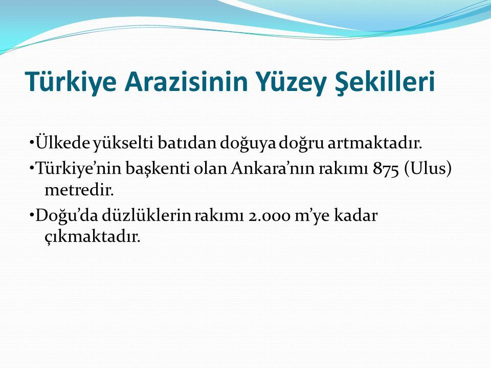 Türkiye Arazisinin Yüzey Şekilleri