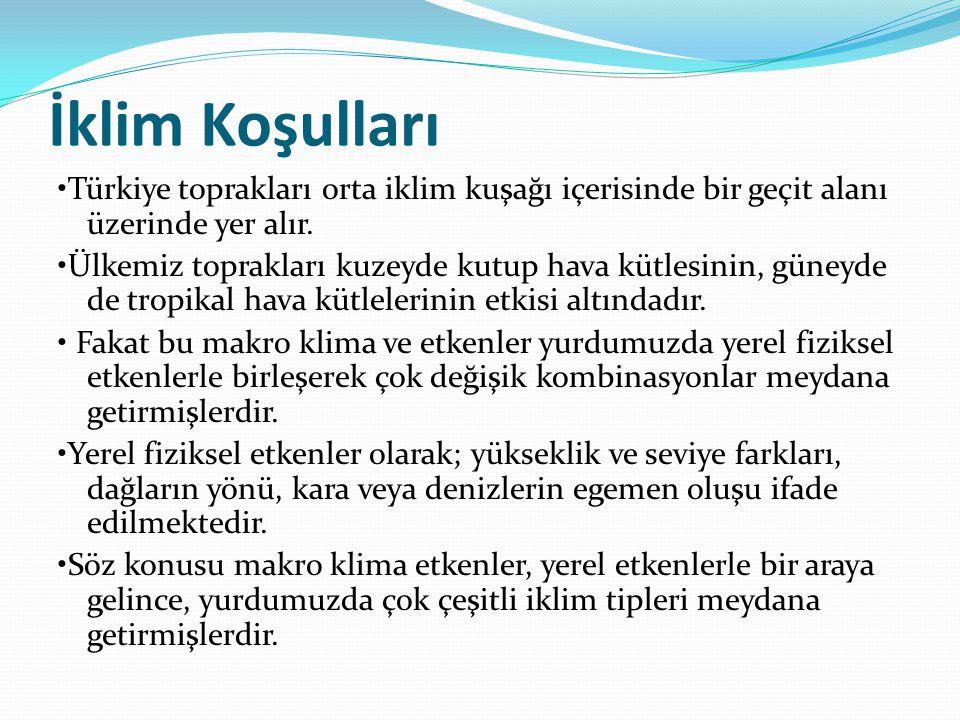İklim Koşulları •Türkiye toprakları orta iklim kuşağı içerisinde bir geçit alanı üzerinde yer alır.