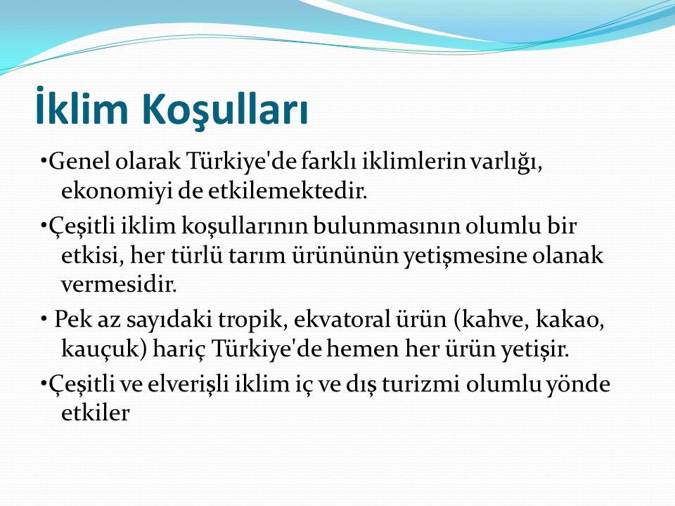 İklim Koşulları •Genel olarak Türkiye de farklı iklimlerin varlığı, ekonomiyi de etkilemektedir.