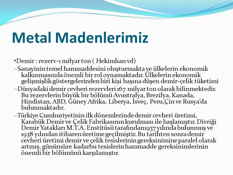 Metal Madenlerimiz •Demir : rezerv-1 milyar ton ( Hekimhan vd)