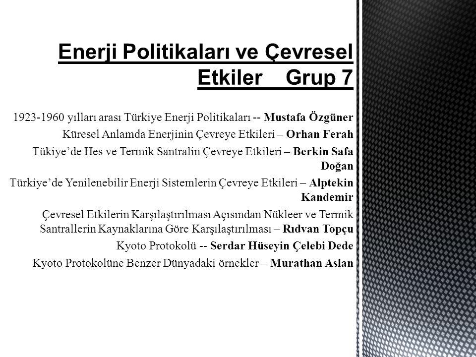 Enerji Politikaları ve Çevresel Etkiler Grup 7