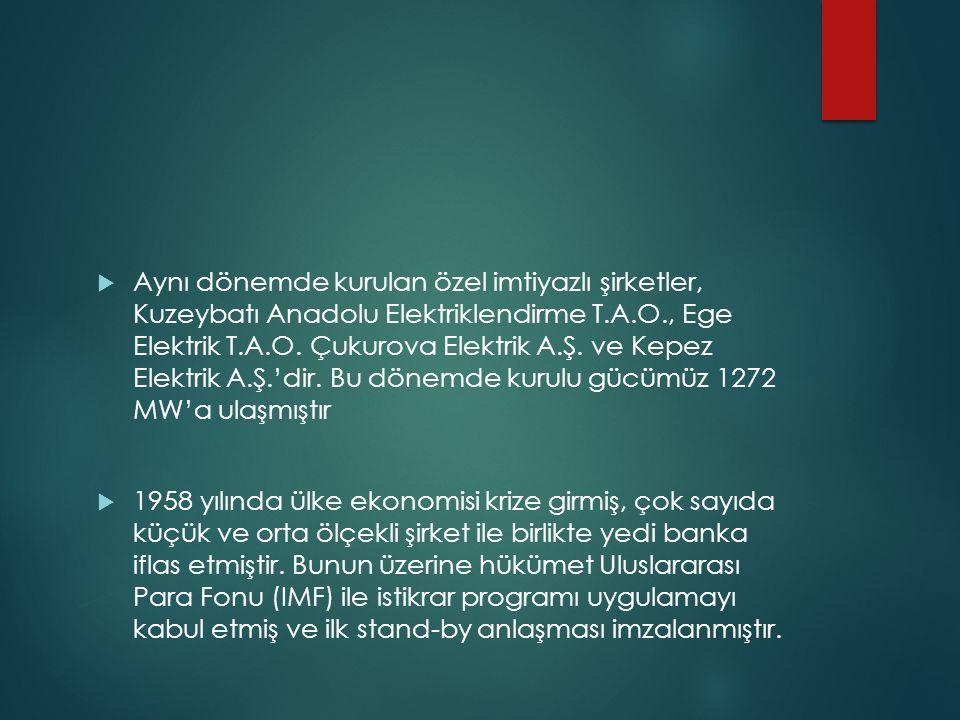 Aynı dönemde kurulan özel imtiyazlı şirketler, Kuzeybatı Anadolu Elektriklendirme T.A.O., Ege Elektrik T.A.O. Çukurova Elektrik A.Ş. ve Kepez Elektrik A.Ş.'dir. Bu dönemde kurulu gücümüz 1272 MW'a ulaşmıştır