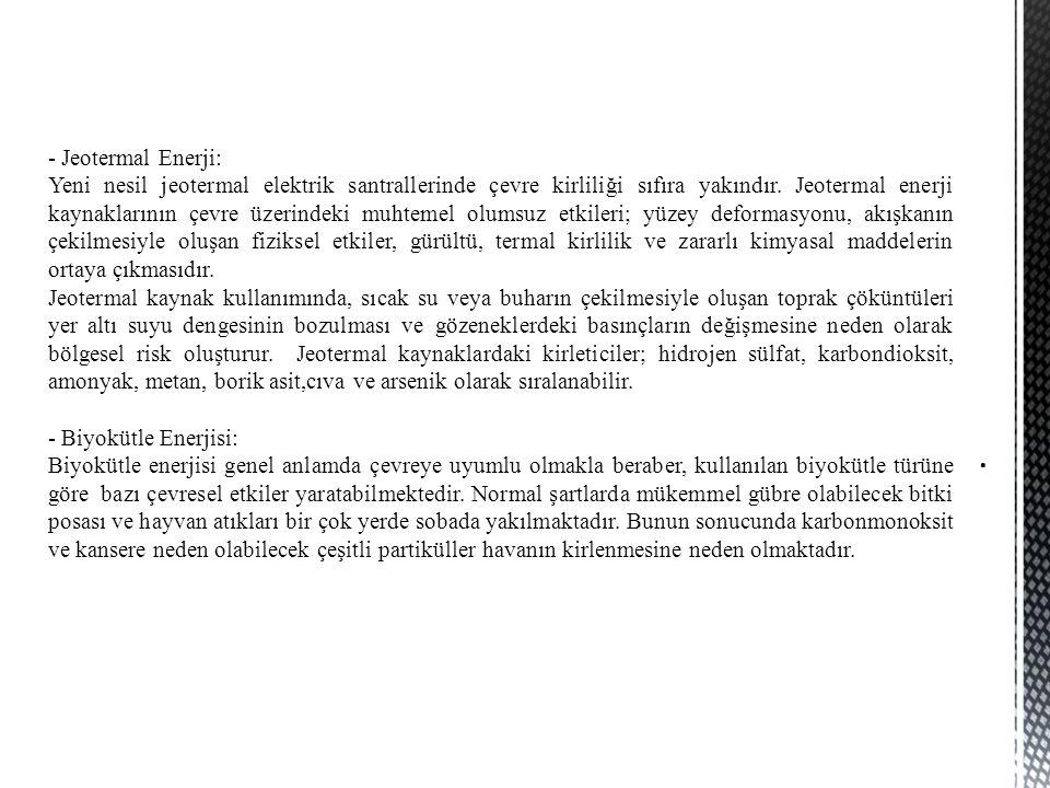- Jeotermal Enerji: