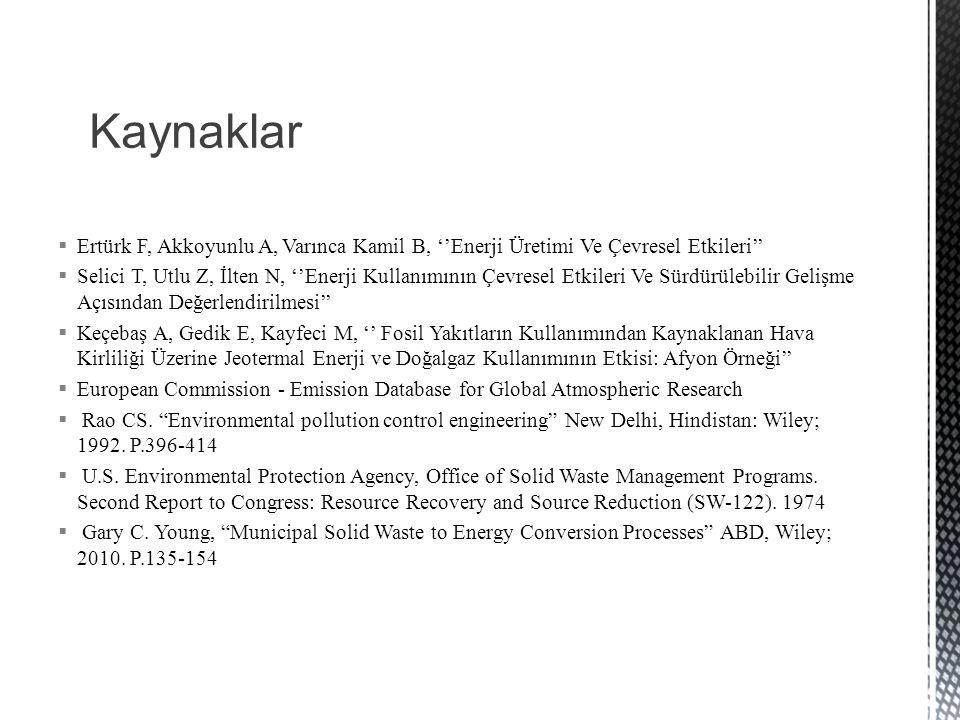 Kaynaklar Ertürk F, Akkoyunlu A, Varınca Kamil B, ''Enerji Üretimi Ve Çevresel Etkileri''