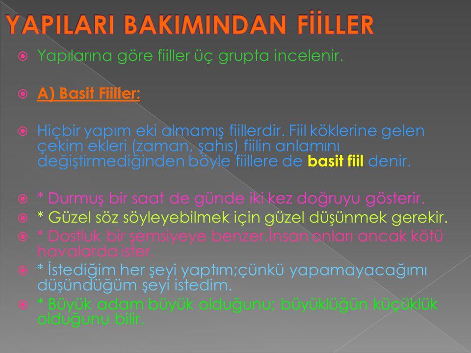 YAPILARI BAKIMINDAN FİİLLER