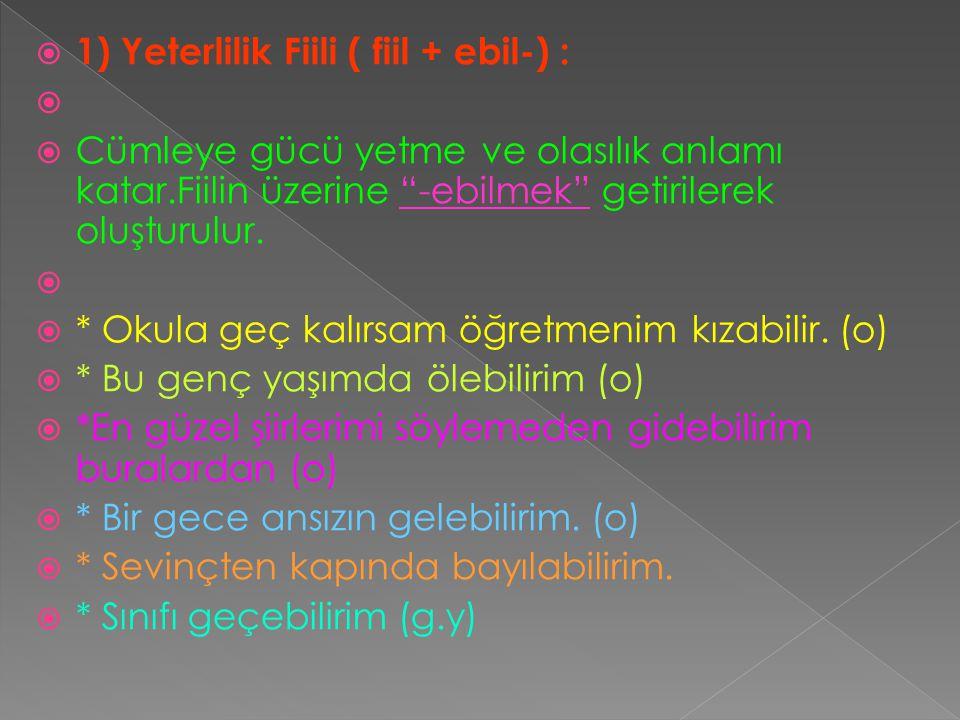 1) Yeterlilik Fiili ( fiil + ebil-) :