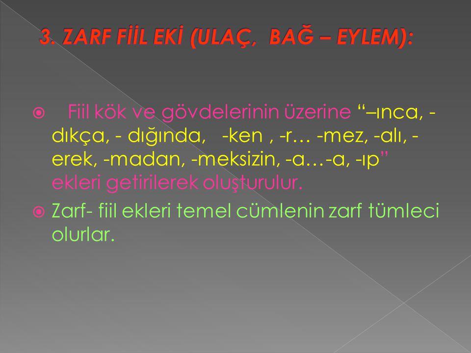 3. ZARF FİİL EKİ (ULAÇ, BAĞ – EYLEM):
