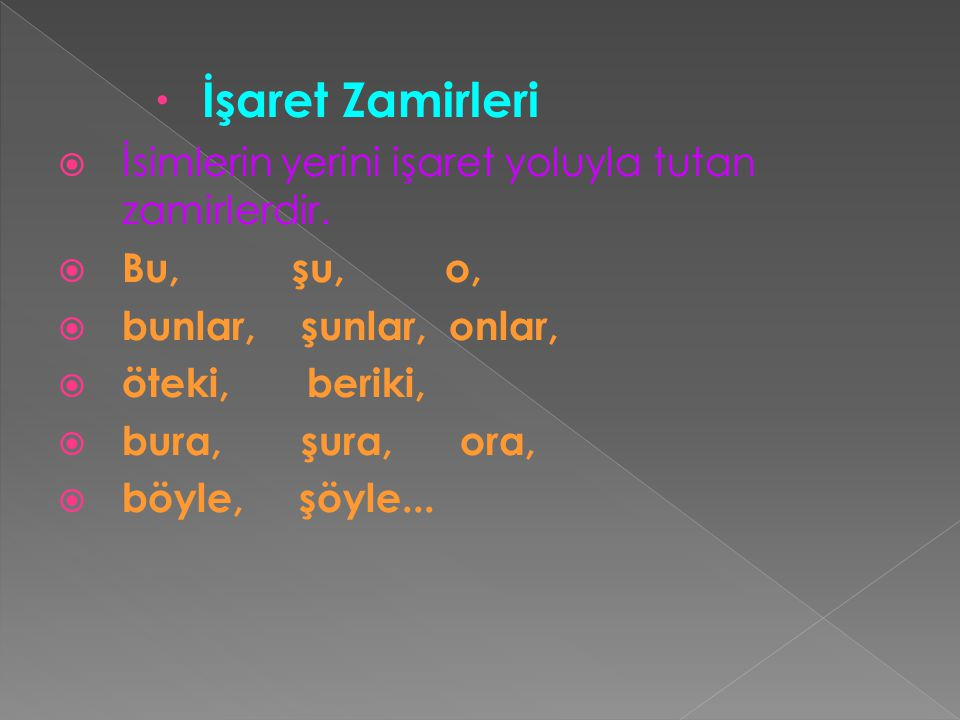 İşaret Zamirleri İsimlerin yerini işaret yoluyla tutan zamirlerdir.