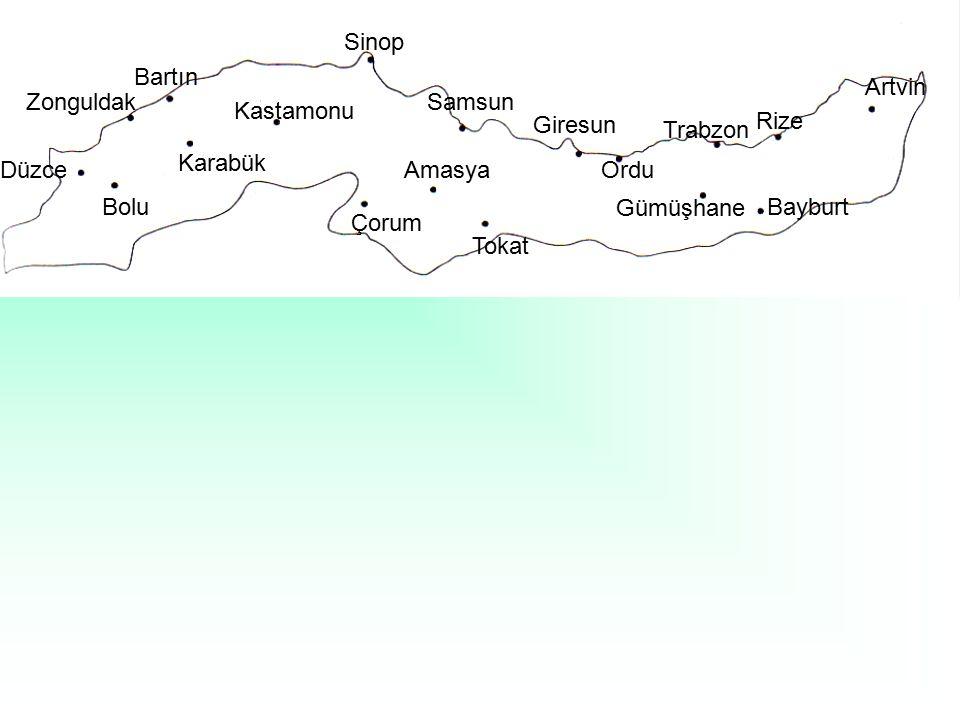 Sinop Bartın. Artvin. Zonguldak. Samsun. Kastamonu. Giresun. Rize. Trabzon. Karabük. Düzce.