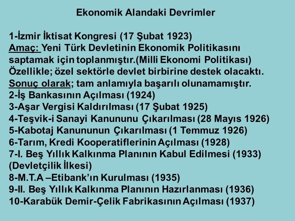 Ekonomik Alandaki Devrimler