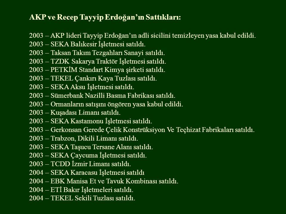 AKP ve Recep Tayyip Erdoğan'ın Sattıkları:
