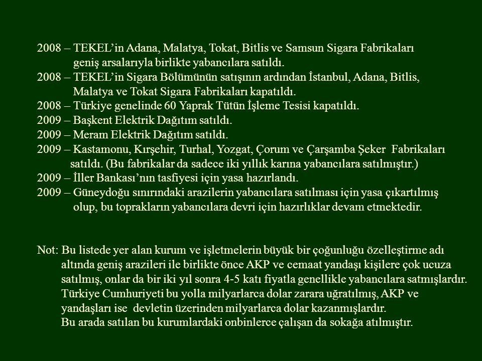 2008 – TEKEL'in Adana, Malatya, Tokat, Bitlis ve Samsun Sigara Fabrikaları