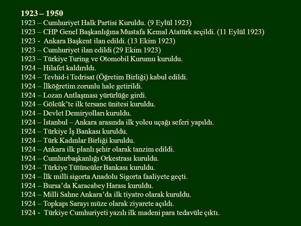 1923 – 1950 1923 – Cumhuriyet Halk Partisi Kuruldu. (9 Eylül 1923)