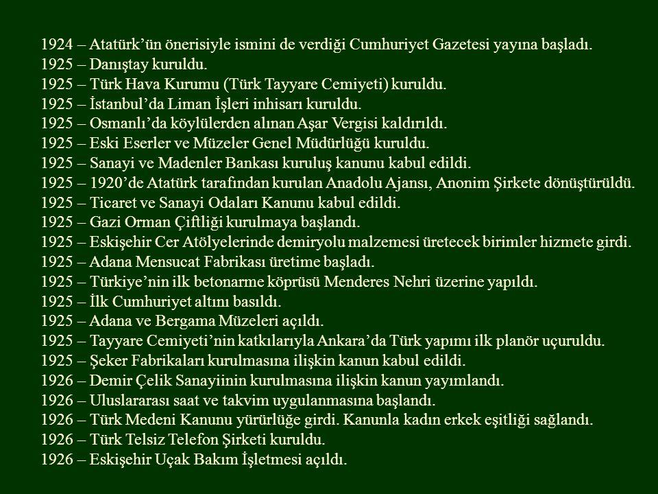 1924 – Atatürk'ün önerisiyle ismini de verdiği Cumhuriyet Gazetesi yayına başladı.